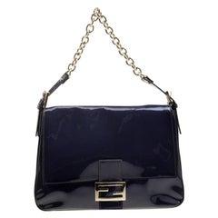 Fendi Navy Blue Patent Leather Mama Forever Shoulder Bag