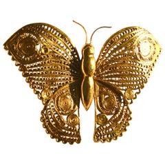 1970s Figurative Oversized Butterfly Brooch