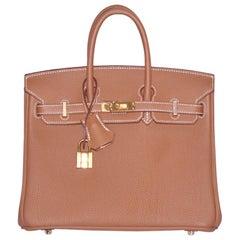 Hermes Gold Togo Leather Gold Hardware Birkin 25 Bag