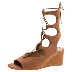 Chloe Brown Suede Gladiator Wedge Sandals Size 39