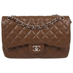 Chanel 2.55 Timeless Jumbo Flap Bag - brown/silver