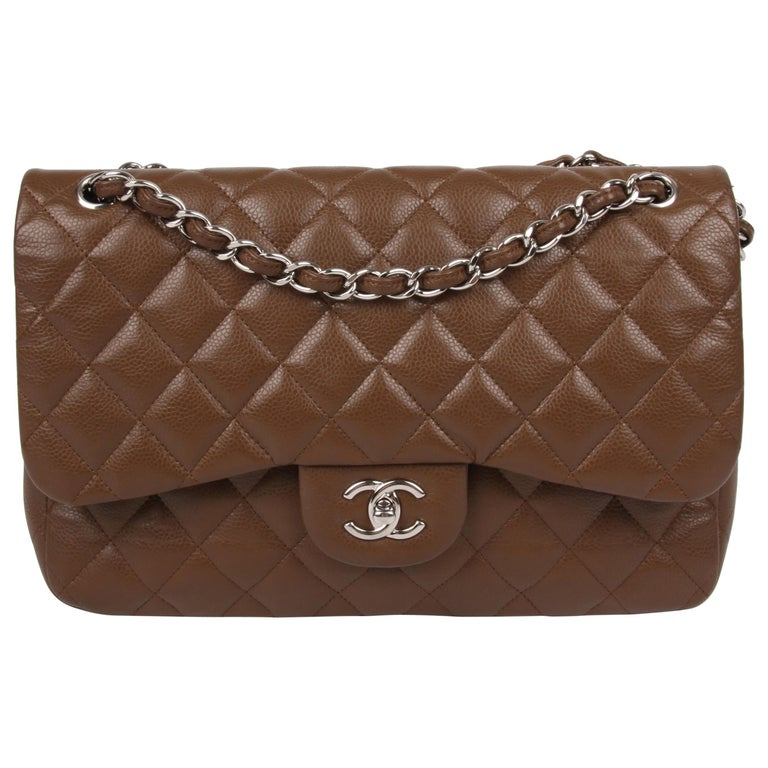2f38b50172c6 Chanel 2.55 Timeless Jumbo Flap Bag - brown/silver For Sale at 1stdibs