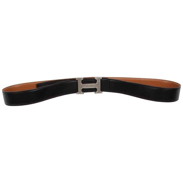Hermes Reversible 'H' Belt - black/brown