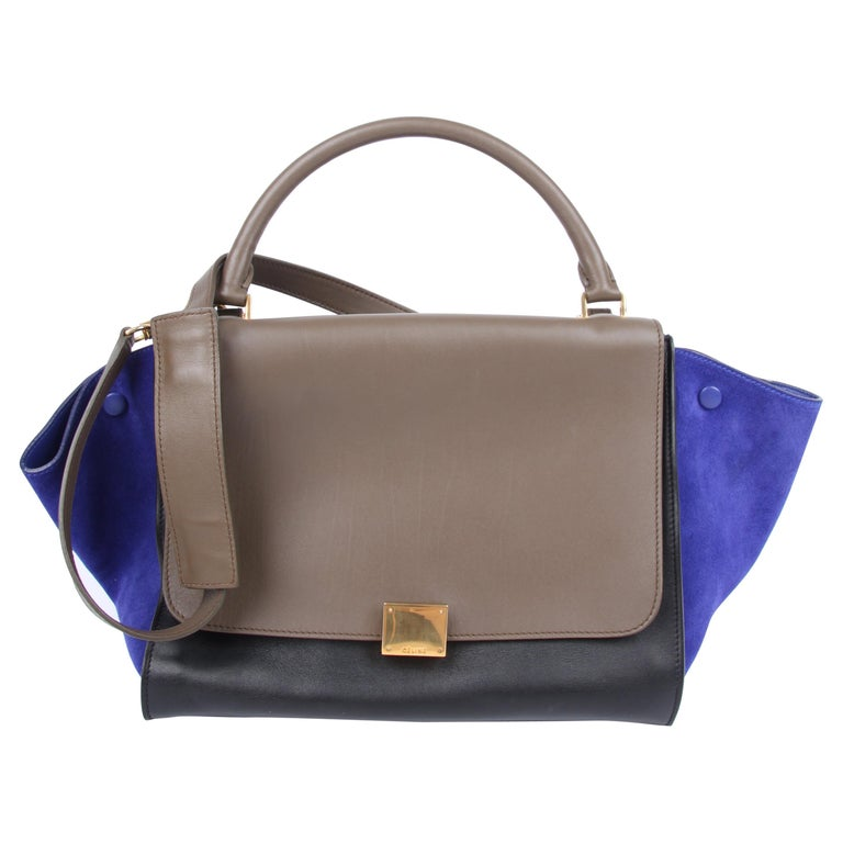 Celine Tricolor Trapeze Shoulder Bag - taupe/black/blue For Sale