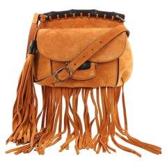 Gucci Nouveau Fringe Crossbody Bag Suede Small