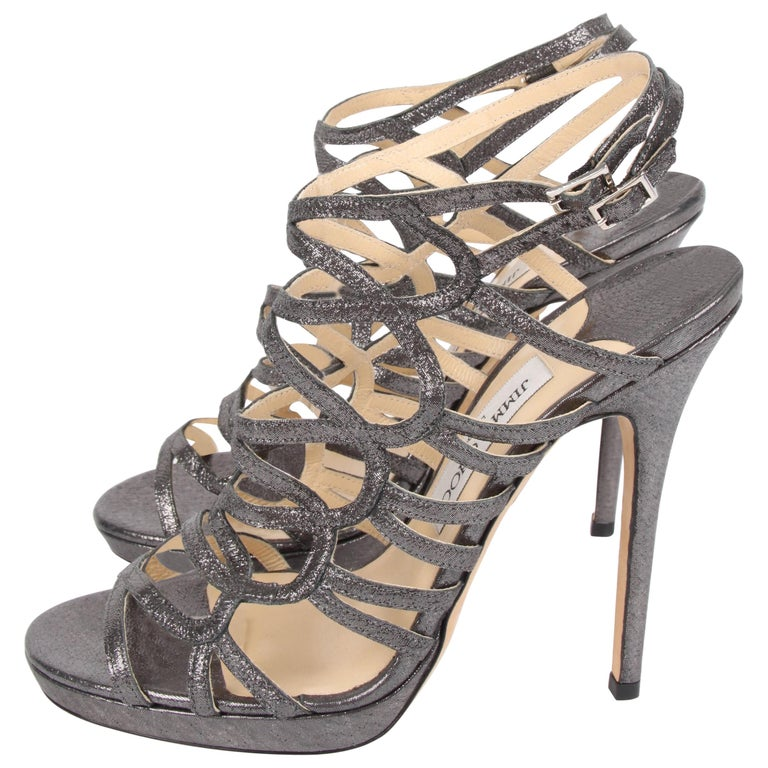 08abe6bb483 Jimmy Choo Strappy Heels - blackish silver For Sale at 1stdibs