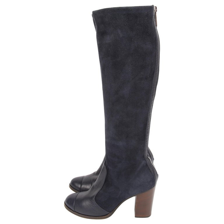 cb8b8fb6fcc3 Chanel Knee High Boots - dark blue For Sale at 1stdibs
