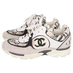 Chanel CC Graffiti Runway Sneakers Trainers - black & white