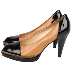 YSL Yves Saint Laurent Cap Toe Pumps - beige/black   YSL Yves Saint Laurent Ca