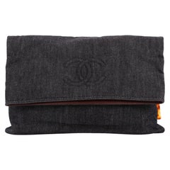 Chanel Vintage CC Fold Over Clutch Denim Large