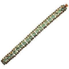 Gold Plated and Aqua Blue Rhinestone Bracelet, circa 1950s