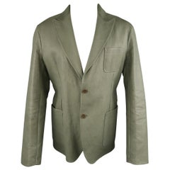 BOTTEGA VENETA 44 Moss Green Leather Peak Lapel Sport Coat Jacket