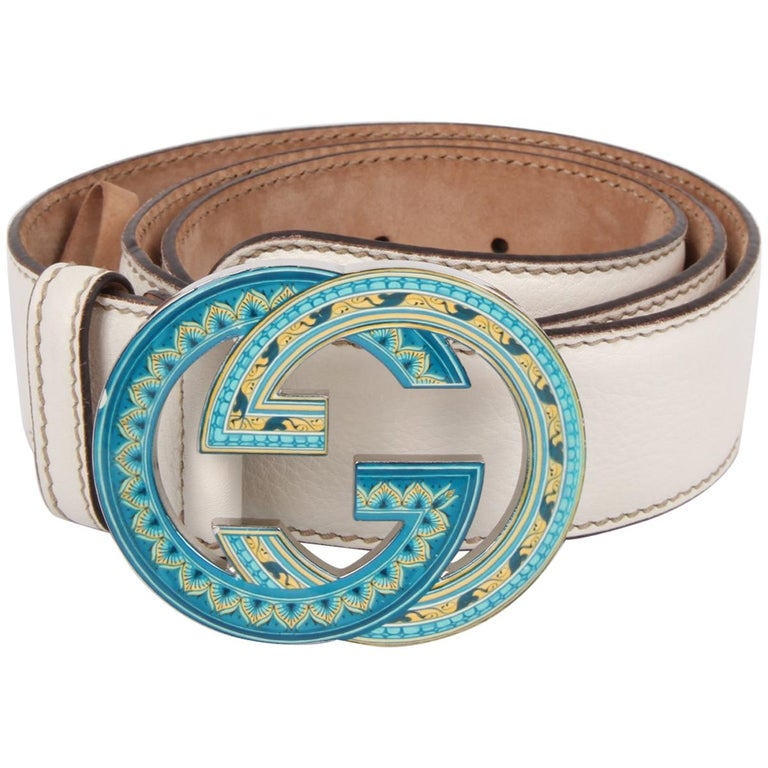 Gucci GG Leather Belt - white/turquoise