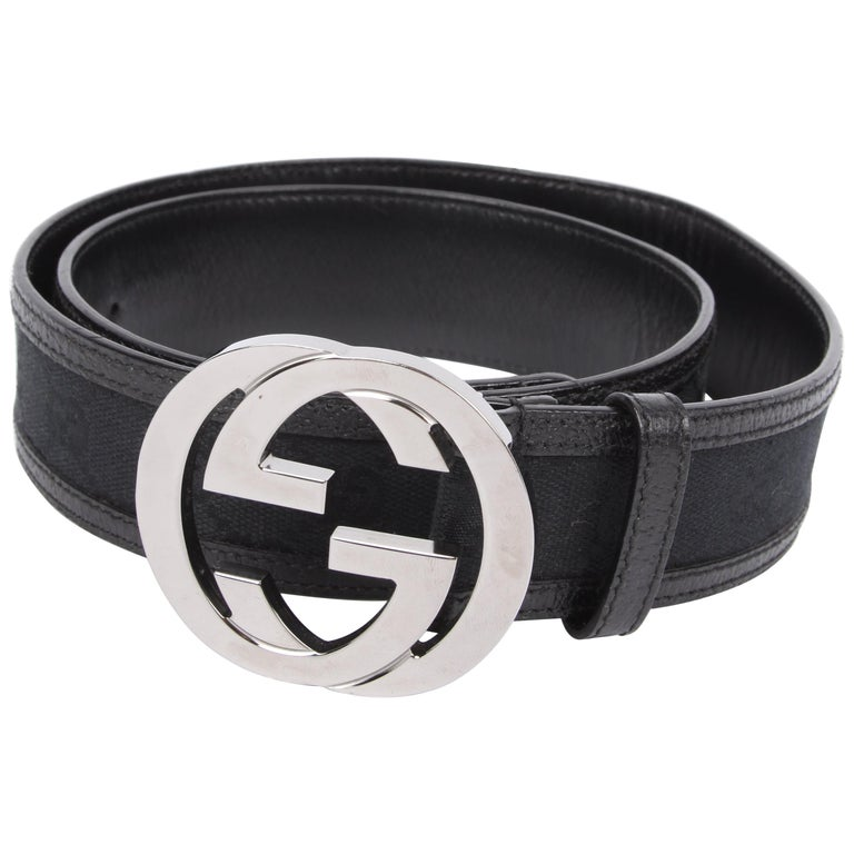 a03f247f629 Gucci Guccissima GG Belt - black silver For Sale at 1stdibs
