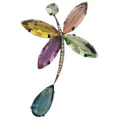 Giorgio Armani Stylized Butterfly Glass Stones and Rhinestones Art Deco Brooch