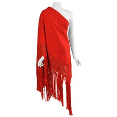 Stunning Red Wool Crepe Shawl with Elaborate Silk Macrame Fringe