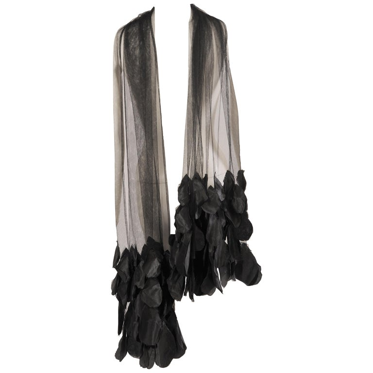 1930's Black Tulle Shawl Wrap with Appliqued Black Flower Petals For Sale