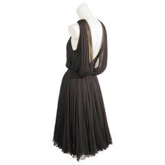 Galanos Draped Black Silk Chiffon Evening Dress
