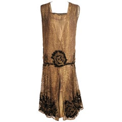 French Metallic Gold Lace Flapper Dress Black Velvet Appliques 1920's