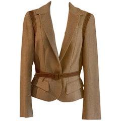 Alexander McQueen 2007 Tan Leather Trim Metallic Accent Tweed Blazer Jacket