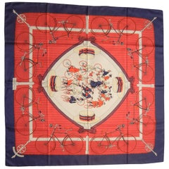 Hermes Les Becanes (The Bicyclists) Red, White & Blue Silk Scarf by Hugo Grygkar