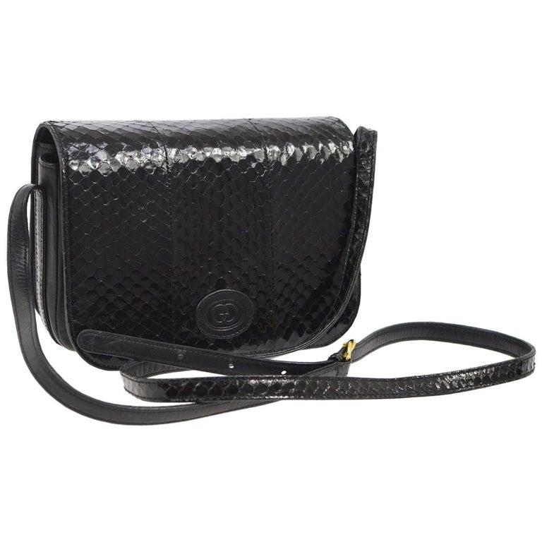 257c11dc5f1 Gucci Black Snakeskin Leather Gold Evening Saddle Crossbody Shoulder Flap  Bag For Sale