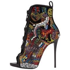 Giuseppe Zanotti NEW Limited Edition Rainbow Crystal Bead Heels Booties in Box