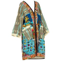 African indigo peacock tapestry duster one size