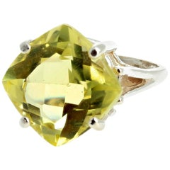 Glittering Lemon Quartz Sterling Silver Ring
