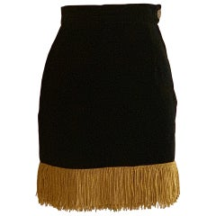 Moschino 1990s Black Velvet Pencil Skirt with Gold Fringe Trim