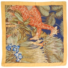 Salvatorre Ferragamo Silk Scarf Giraffes and Blue Flowers