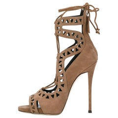 Giuseppe Zanotti Tan Suede Cut Out Lace Up Sandals Evening Heels Booties in Box