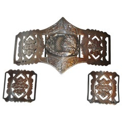 "Victorian-Era Etched Floral with Inlaid ""Floral Lady"" 3-Piece Silver Belt Buckle"