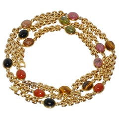 Gilded Gold Vermeil Hardware with Multi-Color Etched Scrab Necklace