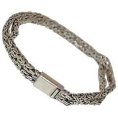 Heavy Silver 925 Double-Strand Bracelet