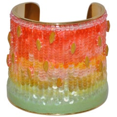 "Rare Iconic Lesage Micro-Beaded Micro-Sequined ""Rainbow"" with Lambskin Wide Cuff"