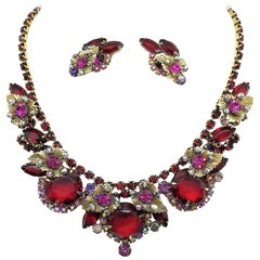Circa 1960 Juliana Red Faceted Glass and Rhinestone Necklace and Earring Set
