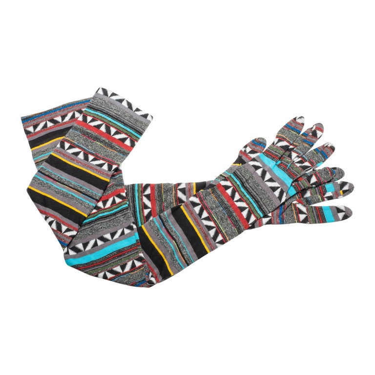 Patrick Kelly 80s Knit Geometric Design Long Gloves Grey White Teal Red Yellow