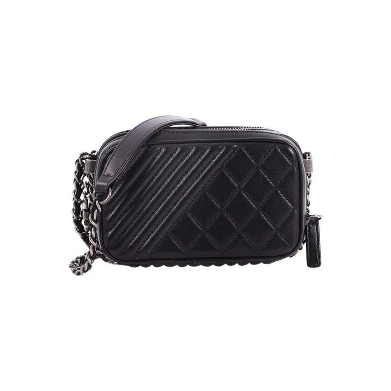 5d54a7652815 Chanel Coco Boy Camera Bag Quilted Leather Mini For Sale. This Chanel Coco  Boy Camera Bag Quilted Leather Mini, crafted from black leather with  diagonal