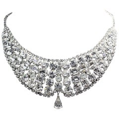 Circa 1950s Clear Faceted Crystal Cocktail Necklace