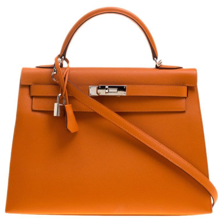 88454c0a52e8 Hermes Orange Epsom Leather Palladium Hardware Kelly Sellier 32 Bag For Sale