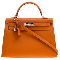 Hermes Orange Epsom Leather Palladium Hardware Kelly Sellier 32 Bag