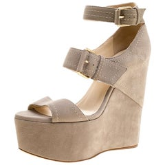 Jimmy Choo Grey Nubuck Leora Platform Wedge Ankle Strap Sandals Size 36.5