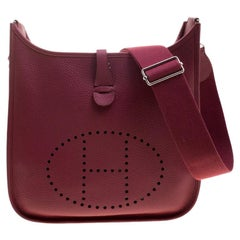 Hermes Rouge Garance Clemence Leather Evelyne III PM Bag
