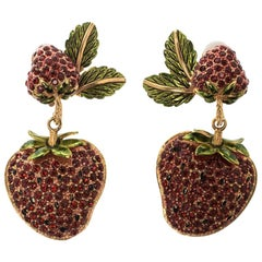 Dolce and Gabbana Big Strawberry Crystal Gold Tone Clip-on Drop Earrings