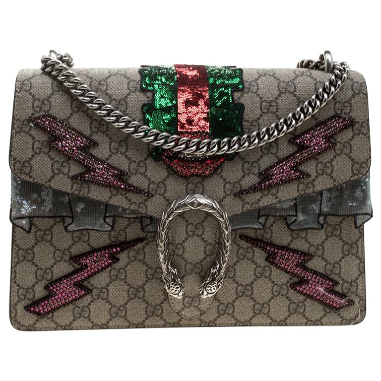 bd7ec490b42a20 Gucci Beige GG Supreme Canvas Medium Dionysus Embroidered Shoulder Bag For  Sale