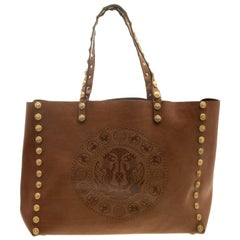Valentino Brown Leather Gryphon Zodiac Studded Tote