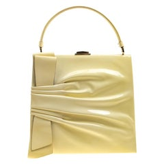 Valentino Citron Patent Leather Top Handle Tote