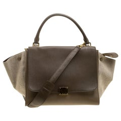 Celine Beige/Taupe Leather and Canvas Medium Trapeze Tote