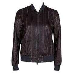 Brunello Cucinelli Brown Leather Embellished Zip Front Bomber Jacket S
